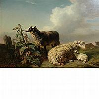 Edmond Tschaggeny Belgian, 1818-1873 Sheep in a Landscape, 1849