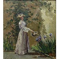Letitia Bonnet Hart American, 1867-1953 (i) Watering the Irises, 1893; (ii) Woman at the Mirror