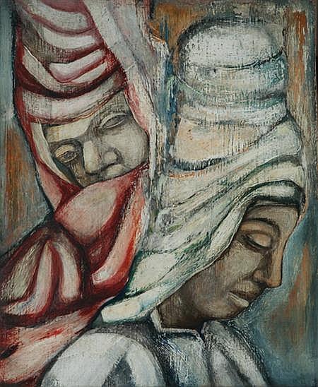 Charles Sebree American, 1914-1985 Untitled (Saltimbanques), circa 1945