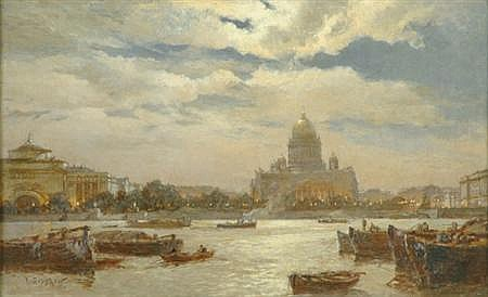 Alexander Karlovich Beggrov Russian, 1841-1914 View of Saint Petersburg in Twilight
