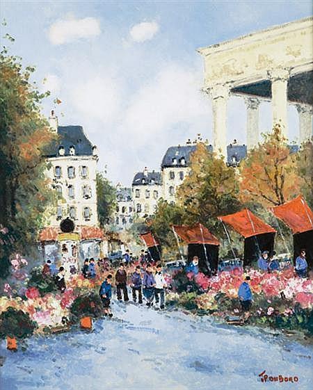 Jean Pierre Dubord French, b. 1949 Les Marchandes de Fleurs Place de la Madeleine