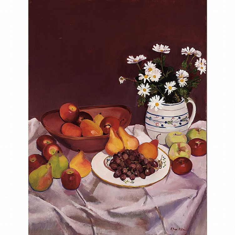 Ellen Adler American, b. 1927 Still Life with Fruit and Daisies on a Table