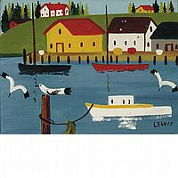 Maud Lewis Canadian, 1903-1970 Harbored Boats