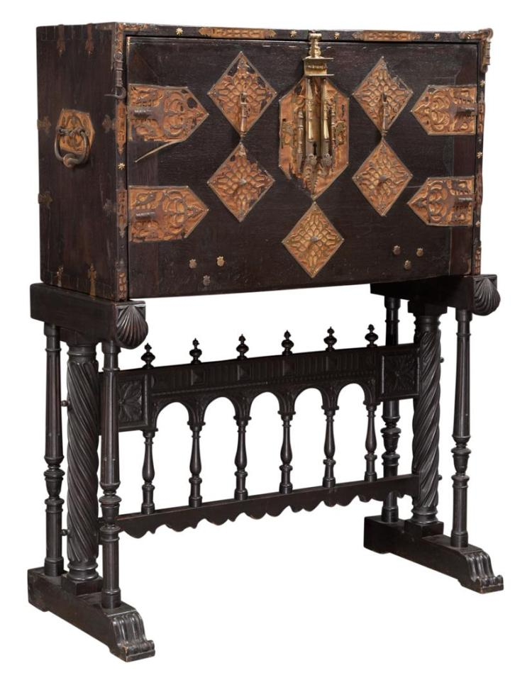 Spanish baroque style metal mounted walnut vargue o for Spanish baroque furniture