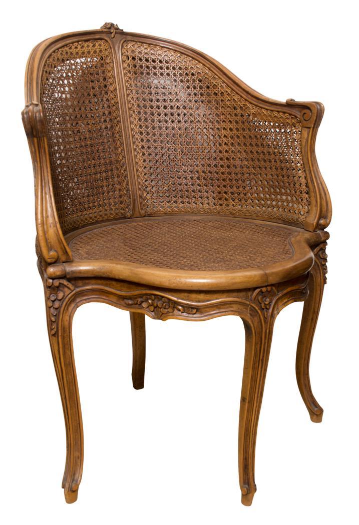 louis xv style caned walnut fauteuil de bureau