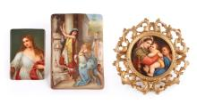 Group of Three Continental Painted Porcelain Plaques