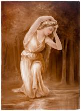 Framed Continental Painted Porcelain Plaque of a Maiden