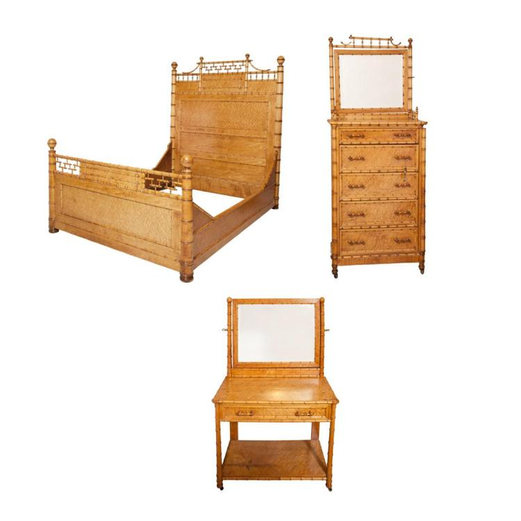suite of faux bamboo maple bedroom furniture