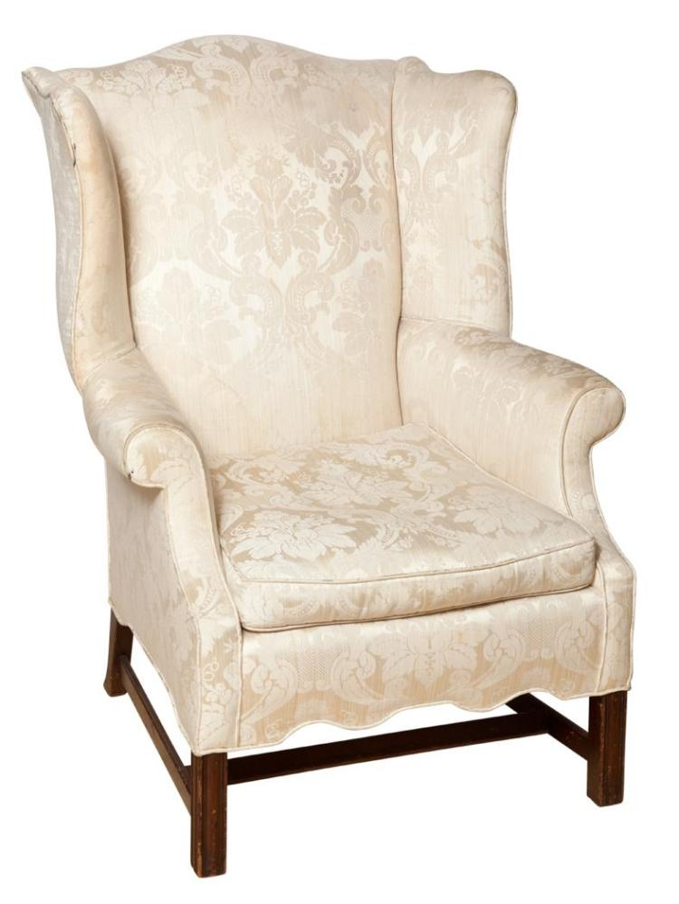 George III Style Upholstered Mahogany Wing Chair