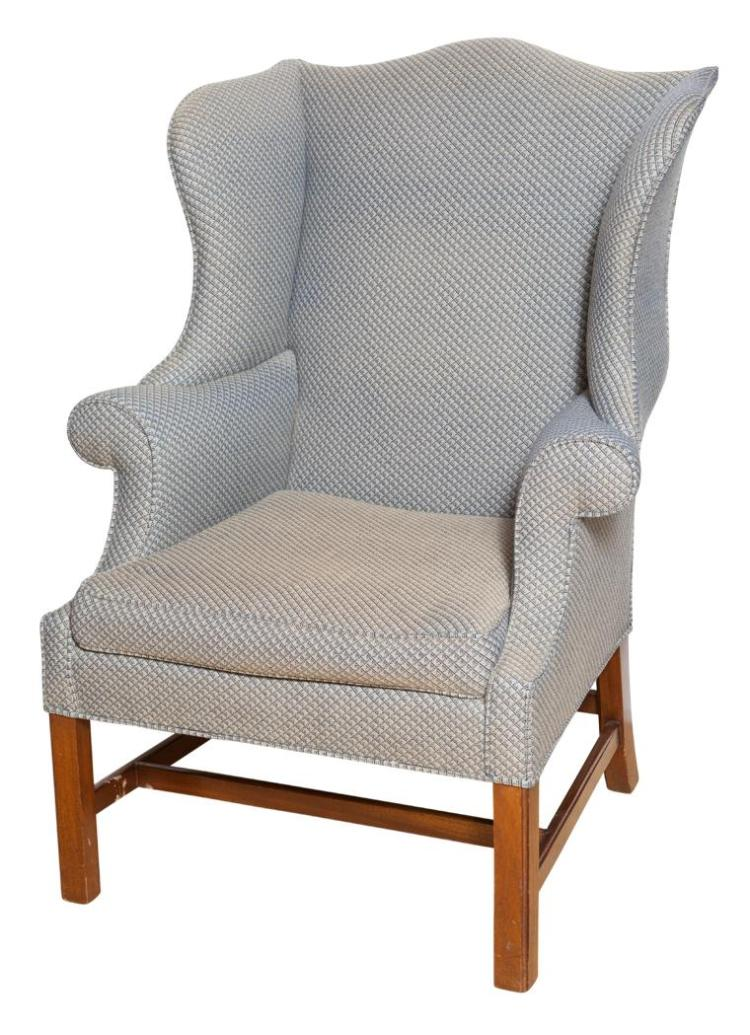 George iii style upholstered mahogany wing chair for Styles of upholstered chairs