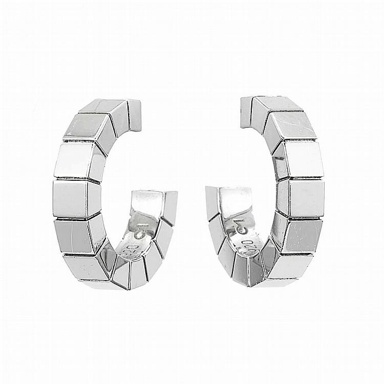 Pair of White Gold Hoop Earrings, Cartier