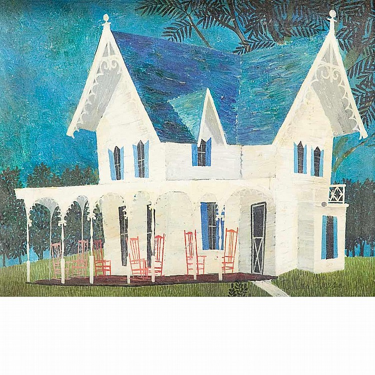 Richard E. Howard American, 1912-1996 (i) Blue Roof, Cape May (ii) Interior