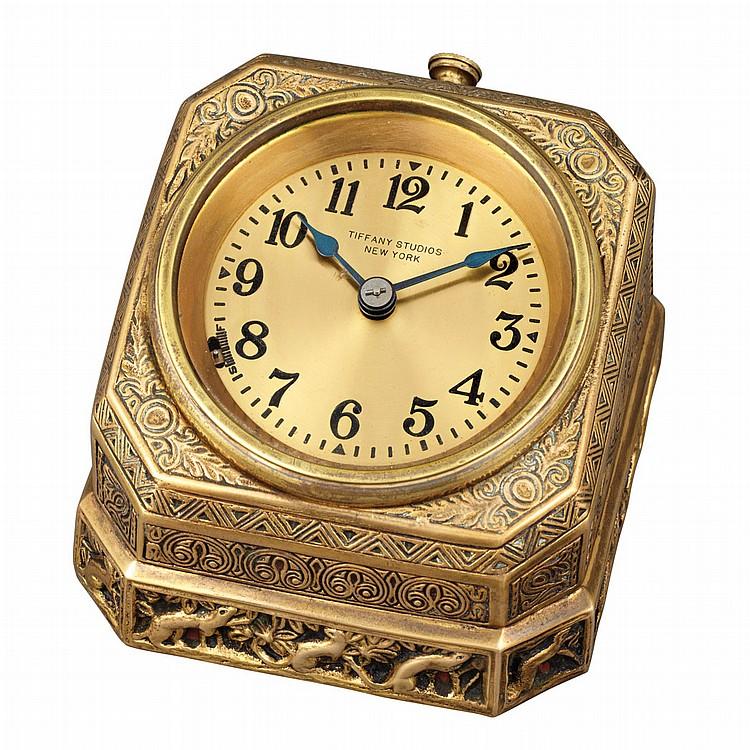 Tiffany Studios Gilt-Bronze Flat Desk Clock