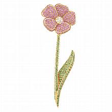 Gold, Pink Sapphire, Green Garnet and Diamond Flower Clip-Brooch