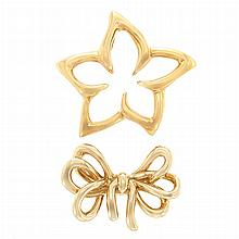 Gold Flower Pin, Tiffany & Co., and Bow Pin