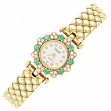 Lady's Gold Diamond and Emerald Wristwatch, Van Cleef & Arpels