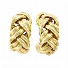 Pair of Gold Hoop Earclips