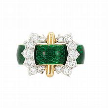 Gold, Green Enamel and Diamond Buckle Band Ring
