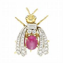 Platinum, Gold, Cabochon Ruby and Diamond Insect Pin