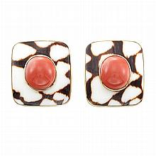Pair of Gold, Coral and Agate Earrings, Trianon