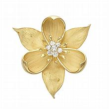Gold and Diamond Flower Pendant-Brooch
