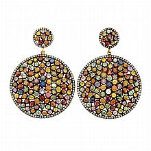 Pair of Blackened Gold, Multicolored Sapphire and Diamond Pendant-Earrings
