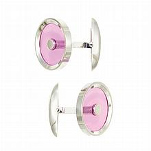 Pair of White Gold and Pink Acrylic Cufflinks