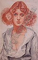 Winold (Fritz Winold) Reiss American, 1886-1953 Portrait of a Red-Haired Woman, Winold Reiss, Click for value