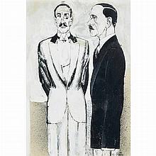 Rudolf Bauer German, 1889-1953 Two Men, circa 1925