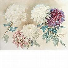 Paul de Longpre French/American, 1855-1911 Chrysanthemums, 1906