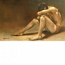 Robert R. Bliss American, 1925-1981 Figure Study, 1956