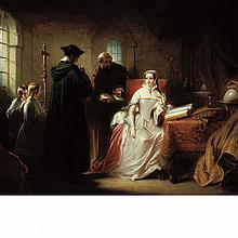 Circle of Charles Robert Leslie Lady Jane Grey with Dr. John Feckenham