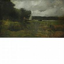 Follower of George Inness Landscape with Boats and Water in the Distance