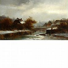 Anton Doll German, 1826-1887 Skating on a Pond