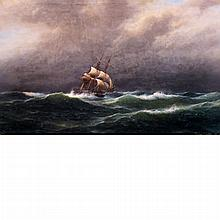 Franz Johann Wilhelm Hunten German, 1822-1887 Barkentine Sailing Ship on Stormy Seas, 1881