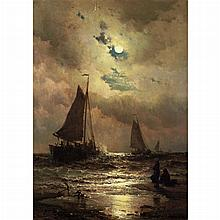 Mauritz Frederick Hendrick de Haas Dutch/American, 1832-1895 Sailboats by Moonlight, 1883