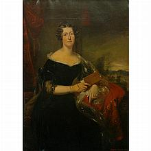 William Smellie Watson Scottish, 1796-1874 Portrait of Lady, Three-Quarter Length, with a View of Prestonfield House, M...