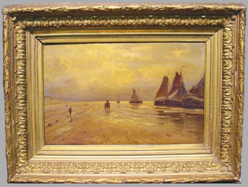 Jan Theodoor Kruseman 1835-1895 SAILBOATS AT DAWN