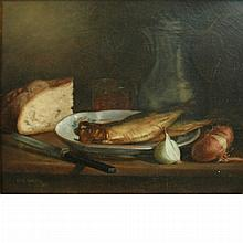 American School 20th Century Still Life with Fish, Bread and Onions