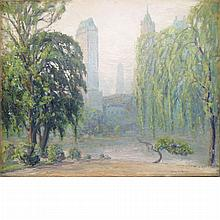 Johann Berthelsen American, 1883-1972 Central Park Facing Fifth Avenue