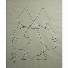 Jean Cocteau French, 1889-1963 Composition aux Deux Tetes