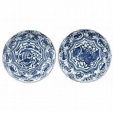 Two Similar Japanese Blue and White Glazed Porcelain Bowls