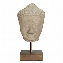 Khmer Gray Sandstone Head of Buddha
