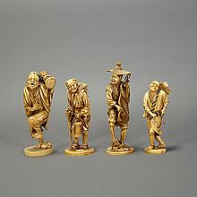 Group of Four Japanese Ivory Okimono