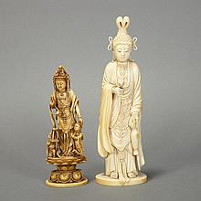 Two Japanese Ivory Okimono Figures of Kannon