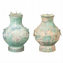 Two Similar Chinese Bronze Covered Vases