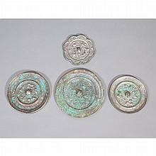Group of Four Chinese Bronze Mirrors