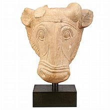 Indian Buff Sandstone Head of a Bull