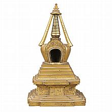 Mongolian Gilt-Bronze Stupa