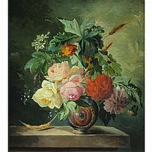 Francois Joseph Huygens Belgian, 1820-1908 Still Life with Flowers on a Ledge, 1849